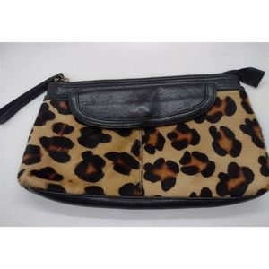 Nordstrom Cowhide Wristlet Clutch Leather Hair
